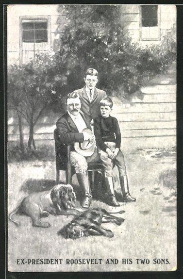 AK Ex-Präsident der USA Roosevelt und seine zwei Söhne