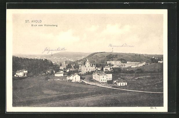 AK St. Avold, Teilansicht vom Walmerberg mit Synagoge