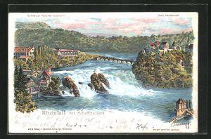 Künstler-AK C. Steinmann: Schaffhausen, Blick auf den Rheinfall