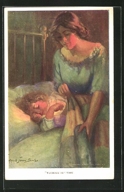 Künstler-AK Alfred James Dewey: Mutter amm Bett des schlafenden Kindes