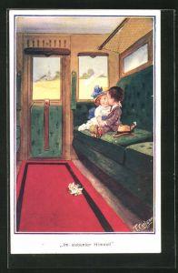 Künstler-AK T. Gilson: zwei Kinder Im siebenten Himmel