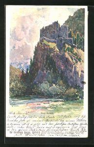 Künstler-AK Franz Kopallik: Burg Katsch in der Steiermark