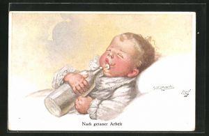 Künstler-AK Wally Fialkowska: Nach getaner Arbeit, Baby mit Flasche