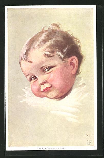 Künstler-AK Wally Fialkowska: Liebe auf den ersten Blick, lächelndes Kleinkind