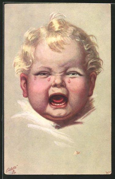 Künstler-AK Wally Fialkowska: weinendes Kleinkind