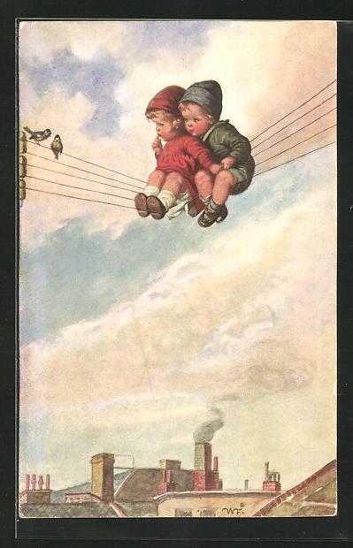 Künstler-AK Wally Fialkowska: Zwei Kinder auf einer Stromleitung sitzend