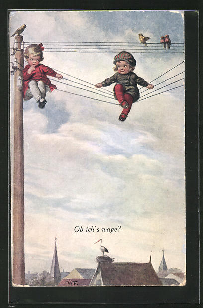 Künstler-AK Wally Fialkowska: Zwei Kinder wollen von Stromleitung springen - Ob ich`s wage ?