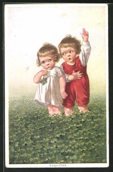 Künstler-AK Wally Fialkowska: Zwei Kinder im Glücksklee-Feld