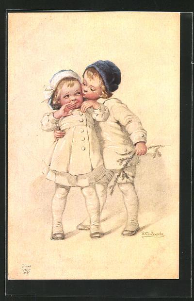 Künstler-AK Wally Fialkowska: Junge küsst ein Mädchen