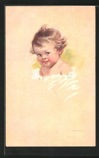 Künstler-AK Wally Fialkowska: lächelnder Kindskopf