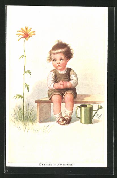 Künstler-AK Wally Fialkowska: Kleinkind mit Giesskanne auf einer Bank sitzend