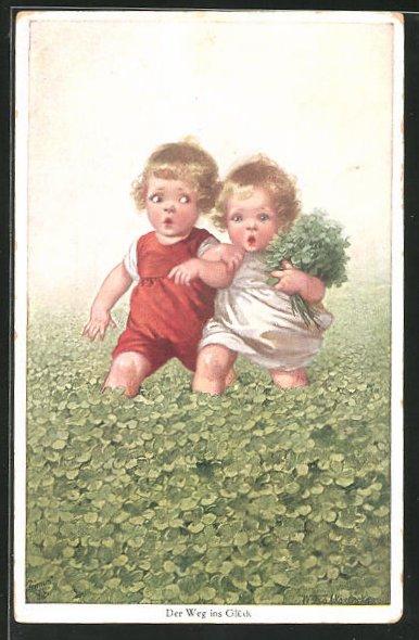 Künstler-AK Wally Fialkowska: Zwei Kinder pflücken Glücksklee