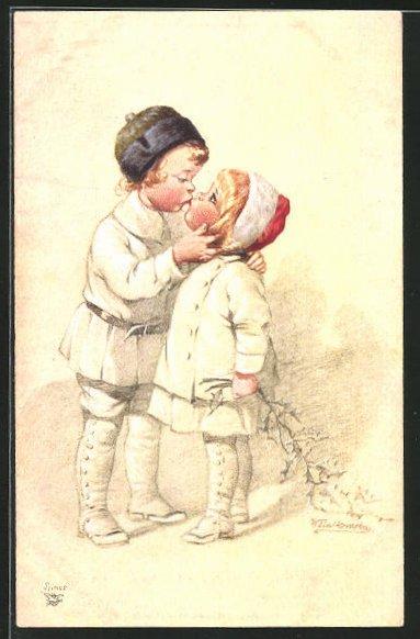 Künstler-AK Wally Fialkowska: Junge küsst das Mädchen