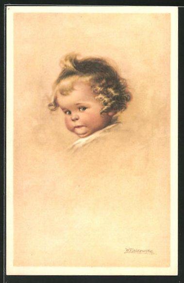 Künstler-AK Wally Fialkowska: Ernst schauender Kindskopf