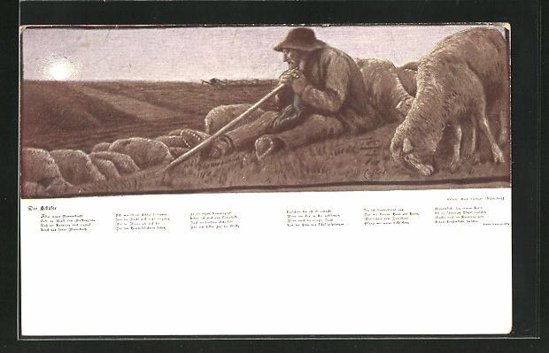 Künstler-AK G. Hirth`s Verlag, Nr. 27: Schäfer bei seiner ruhenden Herde