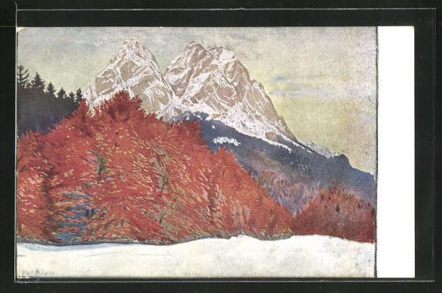 Künstler-AK G. Hirth`s Verlag, Serie XXV, 6: Herbststille am Waxenstein