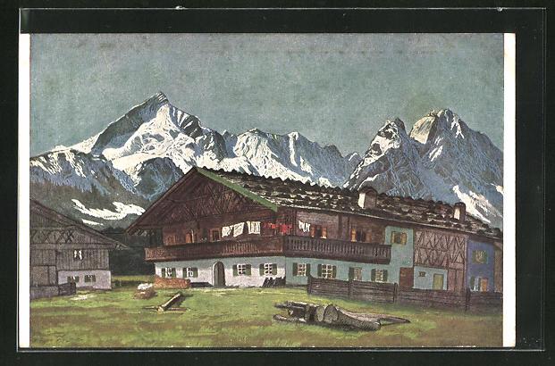 Künstler-AK G. Hirth`s Verlag, Serie XXV, 3: Bauernhof im Werdenfelser Lande
