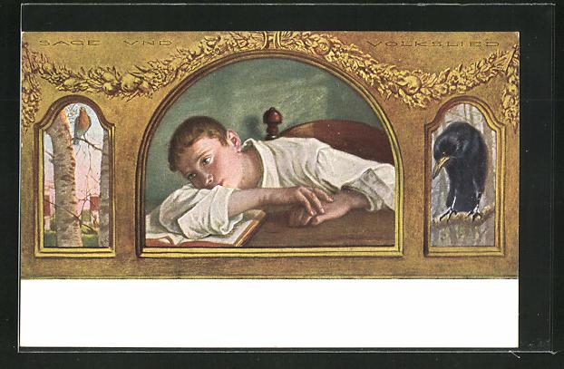 Künstler-AK G. Hirth`s Verlag, Nr. 48: Sage und Volkslied, Tagträumender Knabe über einem Buch