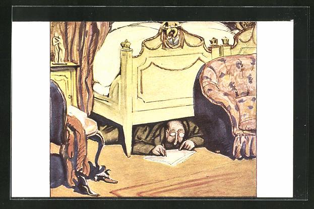 Künstler-AK G. Hirth`s Verlag, Serie XVII, 3: Hofberichterstatter unter dem königlichen Ehebett