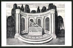 AK Offenburg, Baustein für das in der ehem. Garnison im Juli 1926 zu errichtende Ehrendenkmal, Kameraden, Helft bauen