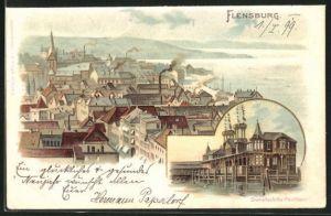 Lithographie Flensburg, Dampfschiffs-Pavillon