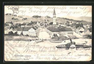 AK Hofkirchen a. Donau, Dampfer Tisza passiert den Ort