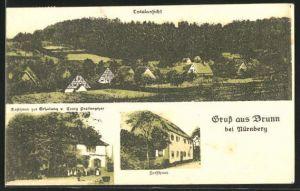 AK Brunn, Gasthaus zur Erholung, Forsthaus, Totalansicht