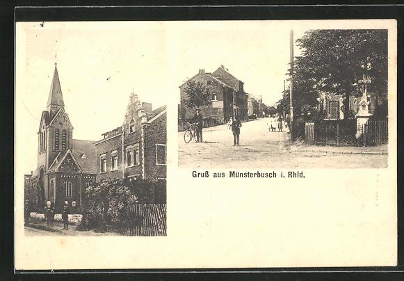 AK Münsterbusch i. Rhld., An der Kirche, Strassenpartie mit Bildstock