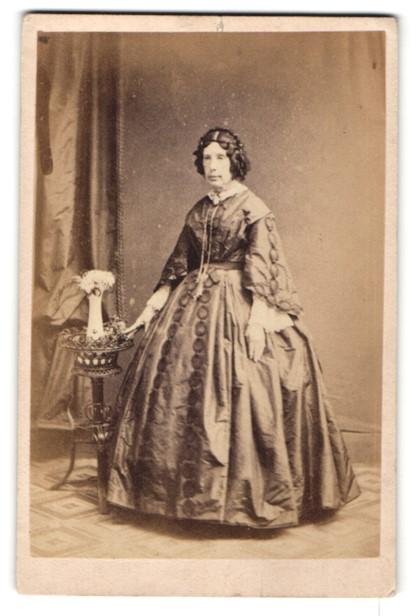 Fotografie C. Hawkins, Brighton, Dame in aufwendig besticktem Kleid