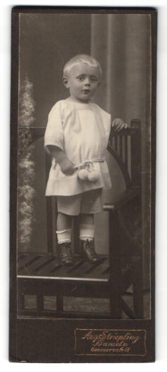 Fotografie August Striepling, Hameln, kleiner blonder Junge mit Kordel um Taille
