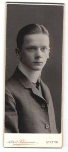 Fotografie Albert Schumann, Stettin, junger Herr mit grossem Kragen