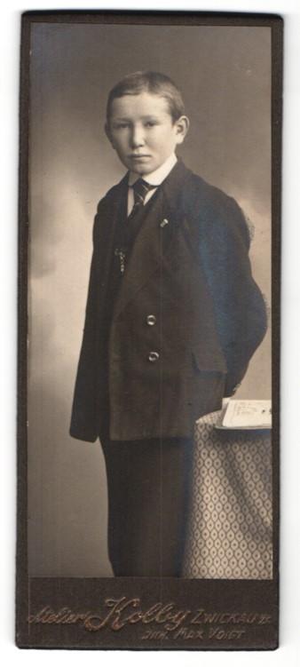Fotografie Max Voigt, Zwickau, Junge mit Krawatte und Anstecknadel