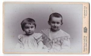 Fotografie Dietrich Witte, Chemnitz, zwei kleine Kinder mit bestickten Rüschenkleidern