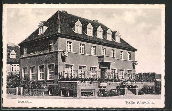 AK Dessau, Cafe Rheinland, Fichtenbreite 1