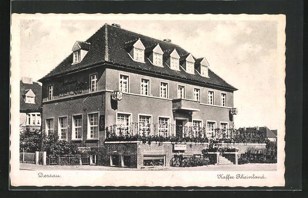 AK Dessau, Cafe Rheinland, Fichtenbreite 1, direkt am Flugplatz gelegen