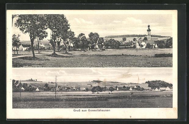 AK Gosseltshausen, Blick über Felder auf den Ort, Teilansicht mit Kirche
