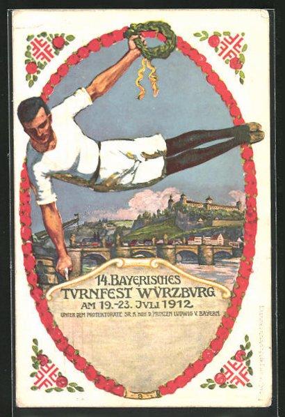 Künstler-AK Ganzsache Bayern PP27C62 /02: Würzburg, 14. Bayerisches Turnfest 1912, Turner am Pauschenpferd