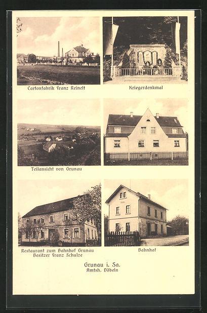 AK Grunau, Restaurant zum Bahnhof, Bahnhof, Cartonfabrik Franz Reinelt