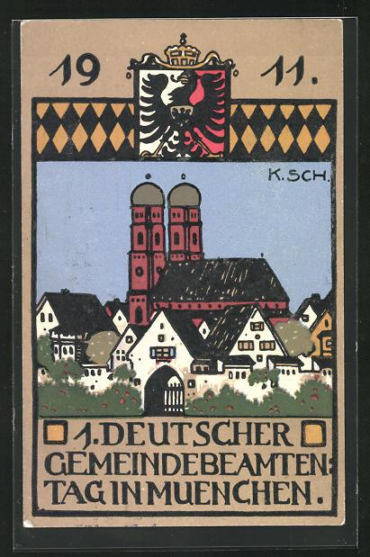 Steindruck-AK München, 1. Deutscher Gemeindebeamtentag 1911, Frauenkirche