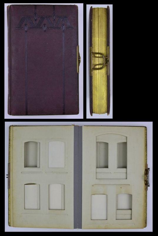 Fotoalbum mit Ledereinband & Ornamenten, Metallschliesse, 32 Seiten mit Goldschnitt für CDV - & Kabinettfotos