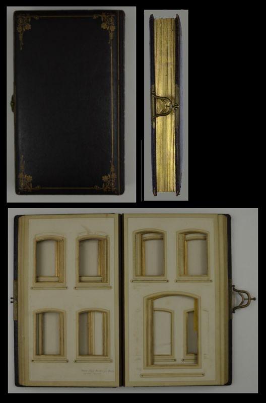 Fotoalbum mit Ledereinband & Jugendstil-Ornamenten, Metallschliesse, 28 Seiten mit Goldschnitt für CDV & - Kabinettfotos