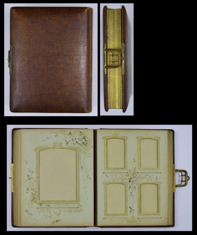 Fotoalbum mit Ledereinband, Metallschliesse, 28 Seiten Goldschnitt mit Floralen-Verzierungen für CDV - & Kabinettfotos