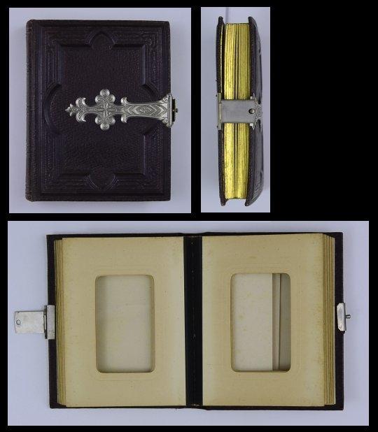 Fotoalbum mit Ledereinband & Metallbeschlag, Metallschliesse, 24 Seiten mit Goldschnitt für CDV-Fotos