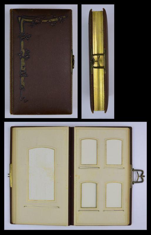 Fotoalbum mit Ledereinband & floralen Verzierungen, Metallschliesse, 28 Seiten mit Goldschnitt für CDV - & Kabinettfotos