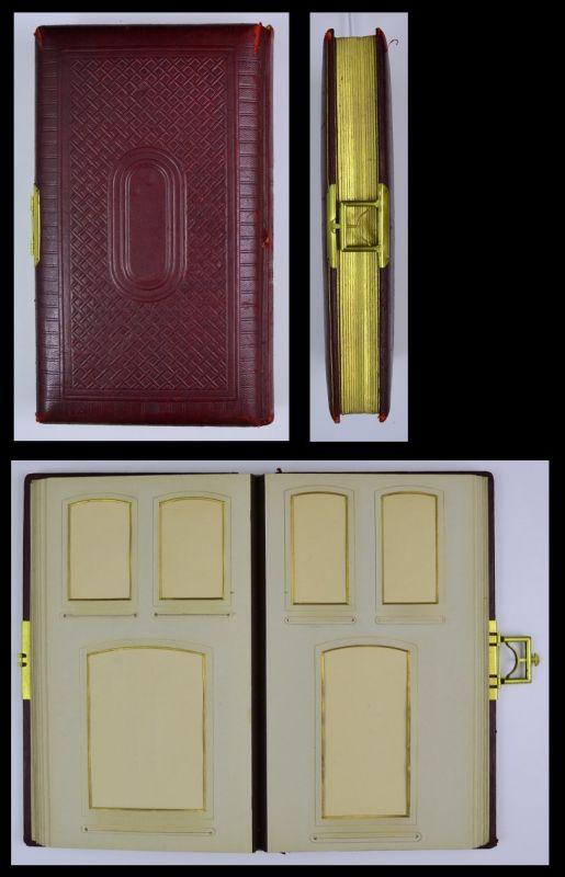 Fotoalbum mit Ledereinband & Verzierungen, Metallschliesse, 28 Seiten Goldschnitt für CDV - und Kabinettfotos