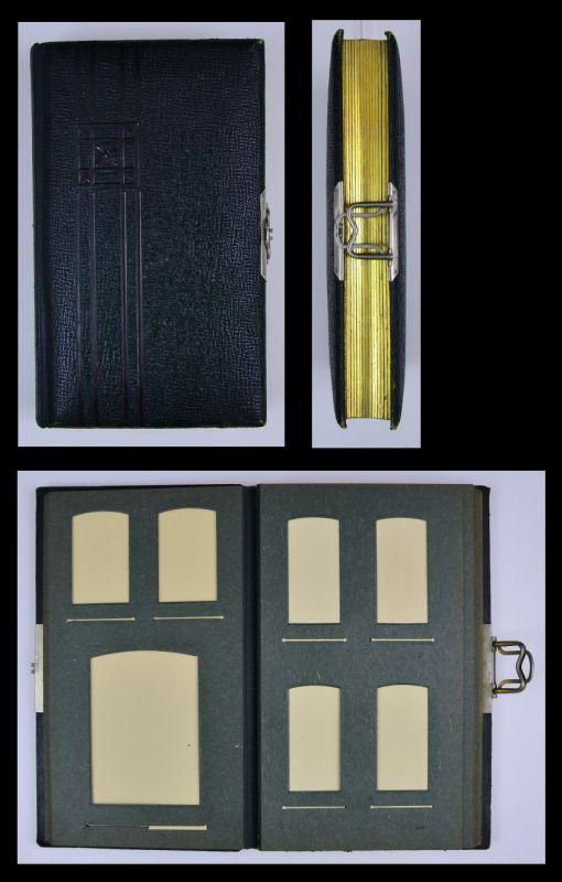 Fotoalbum mit Ledereinband, Metallschliesse, 26 Seiten mit Goldschnitt für CDV - und Kabinettfotos