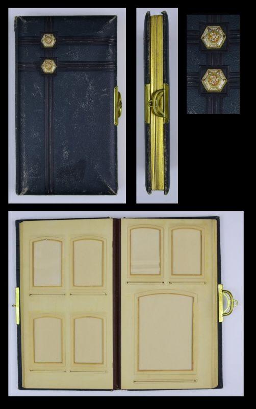 Fotoalbum mit Ledereinband und Email-Beschlägen, Metallschliesse, 18 Seiten mit Goldschnitt für CDV - und Kabinettfotos
