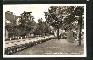 AK Duisburg-Wedau, Grüner Winkelmit Kriegerdenkmal