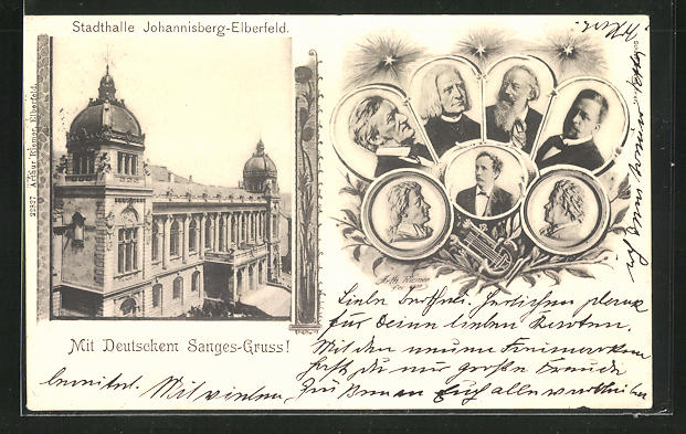 AK Elberfeld, Stadthalle Johannisberg, Komponisten, Liszt, Brahms, Wagner, etc.