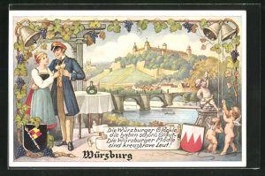 AK Würzburg, Flussbrücke und Schloss